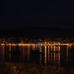 vistas nocturnas de Bueu y Marín, ría de Pontevedra